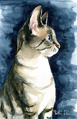 Painting - Lynx Point Cat Portrait by Dora Hathazi Mendes