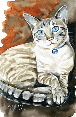 Lynx Point Siamese Cat Painting Original