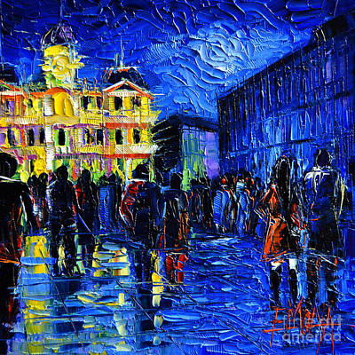 Streets Of France Painting - Lyon Festival Of Lights by Mona Edulesco