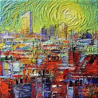Painting - Lyon Sunrise Glow - Modern Impressionist Stylized Cityscape by Mona Edulesco