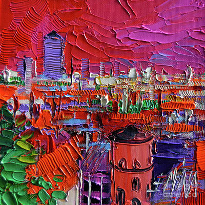 Rooftops Painting - Lyon View In Pink by Mona Edulesco