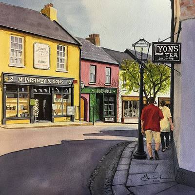 Shady Street Painting - Lyons Tea by Janine Ferranti