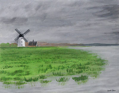 Sea Painting - Lytham  St Annes On Sea Windmill And Boathouse by Ronald Haber