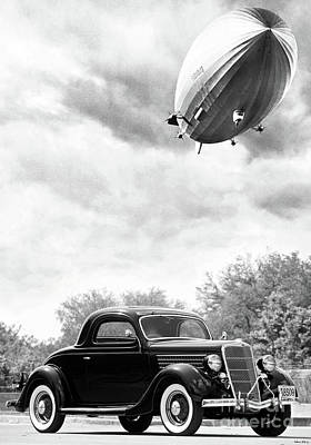 Lz 129 Hindenburg Flys Over A 1935 Ford 3 Window Coupe, Fateful Early Morning Of May 6, 1937 Art Print