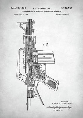 Digital Art - M-16 Rifle Patent by Taylan Apukovska