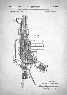 M 16 Digital Art - M-16 Rifle Patent by Taylan Apukovska