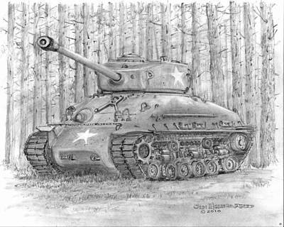M-4 Sherman Tank Art Print by Jim Hubbard