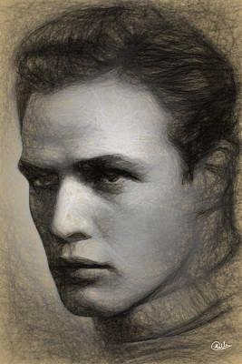 Marlon Brando Retrato Art Print by Quim Abella