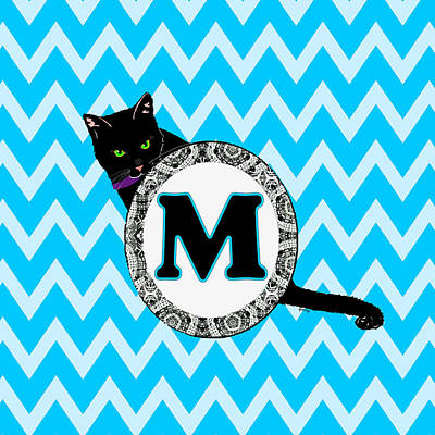 Cat Digital Art - M Cat Chevron Monogram by Paintings by Gretzky