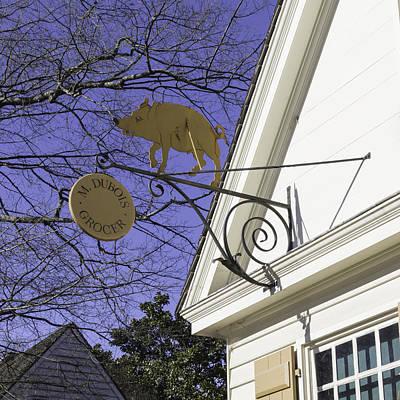Razorback Photograph - M Dubois Grocer Sign Squared by Teresa Mucha