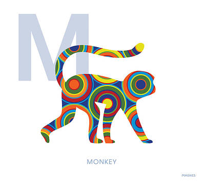 Ape Digital Art - M Is For Monkey by Ron Magnes
