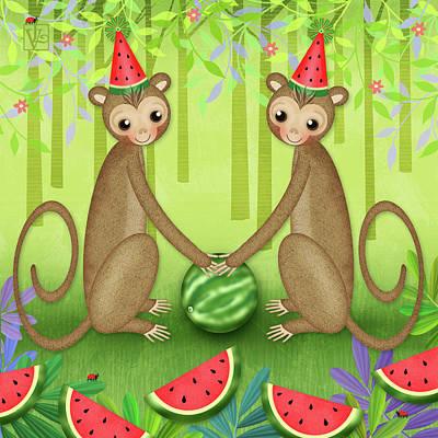 Animal Alphabet Digital Art - M Is For Monkeys by Valerie Drake Lesiak