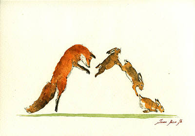 Fox Painting - M Letter Woodland Animals by Juan  Bosco