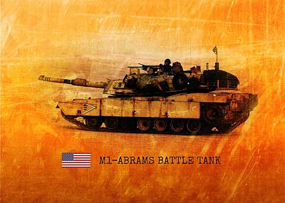 Digital Art - M1 Abrams Battle Tank by John Wills