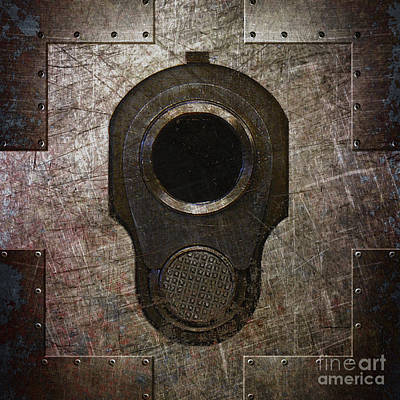 Digital Art - M1911 Muzzle On Rusted Riveted Metal Dark by M L C