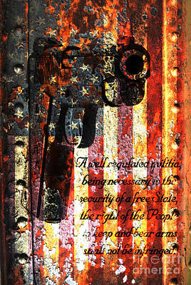 M1911 Pistol And Second Amendment On Rusted American Flag Art Print