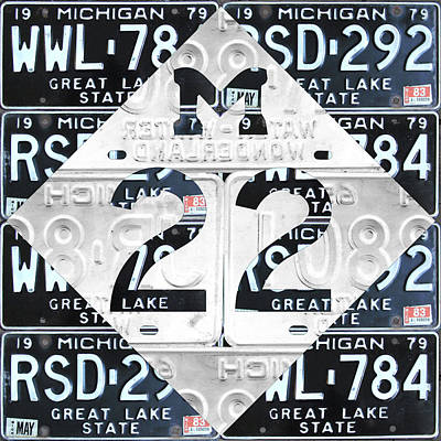 Recycle Mixed Media - M22 Michigan Highway Symbol Recycled Vintage Great Lakes State License Plate Logo Art by Design Turnpike