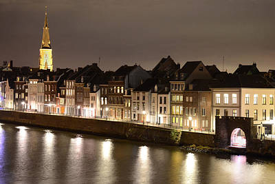 Limburg Photograph - Maas River At Night by Carol Vanselow