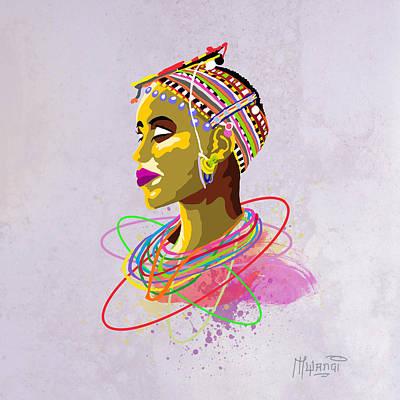 Women Painting - Maasai Beauty by Anthony Mwangi