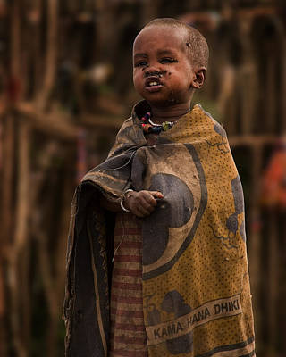 Poor People Photograph - Maasai Boy by Adam Romanowicz