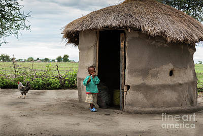 Documentary Photograph - Maasai Child Next To His Hut With Chicken by RicardMN Photography