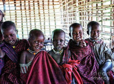 Photograph - Smiling Maasai Children In Ngorongoro by Amyn Nasser