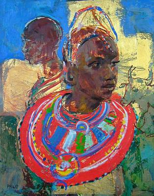 Encaustic Painting - Maasai Daydream by Michelle Philip