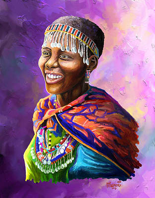 Home Painting - Maasai Girl by Anthony Mwangi