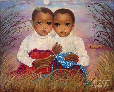 Contemporary Ethnic Artist Painting - Maasai Girls At Dusk by Katrina Dalton
