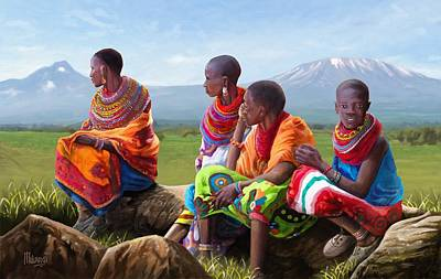 Basking Painting - Maasai Women by Anthony Mwangi