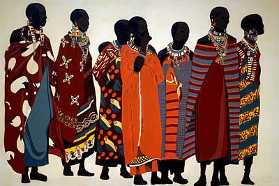 African Art Painting - Maasai Women by Irene Jonker