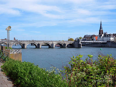 Sint Servaasbrug Photograph - Maastricht, Bridge Over The River Meuse Netherlands by Louise Heusinkveld
