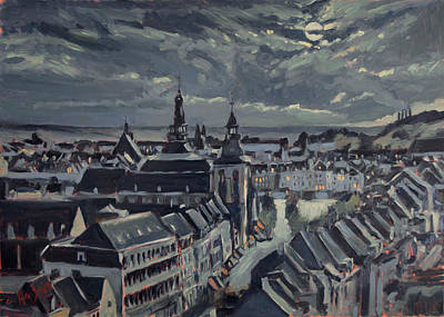 Nocturne Painting - Maastricht By Moon Light by Nop Briex