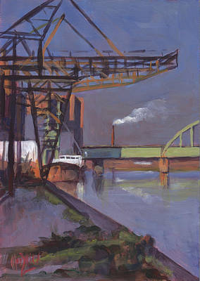 River Painting - Maastricht Industry by Nop Briex