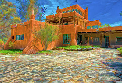 Digital Art - Mabel Dodge Luhan House As Oil by Charles Muhle