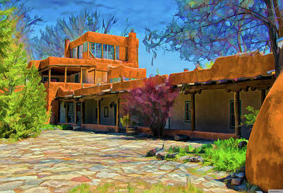 Digital Art - Mabel's Courtyard As Oil by Charles Muhle
