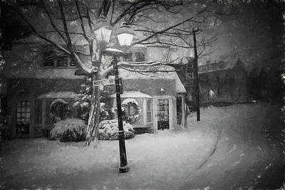 Photograph - Mablehead Market Square Snowstorm Old Town Evening Black And White Painterly by Toby McGuire