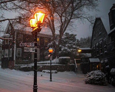 Photograph - Mablehead Market Square Snowstorm Old Town Lanterns by Toby McGuire