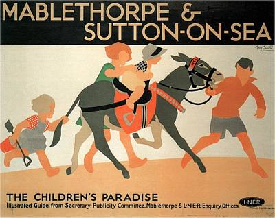 Children Playing On Beach Painting - Mablethorpe And Sutton-on-sea - Children's Paradise - Vintage Poster by Studio Grafiikka