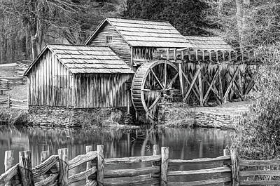 Photograph - Mabry Mill Black And White - Blue Ridge Parkway by Gregory Ballos