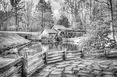 Photograph - Mabry Mill - Blue Ridge Parkway - Dan Virginia - Black And White by Gregory Ballos