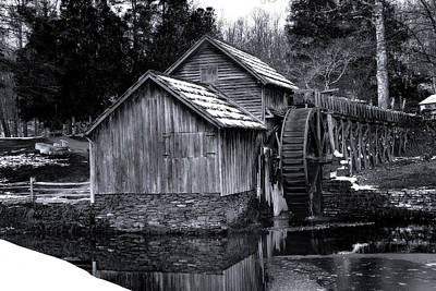 Photograph - Mabry Mill Bw Light Snow by Steve Hurt