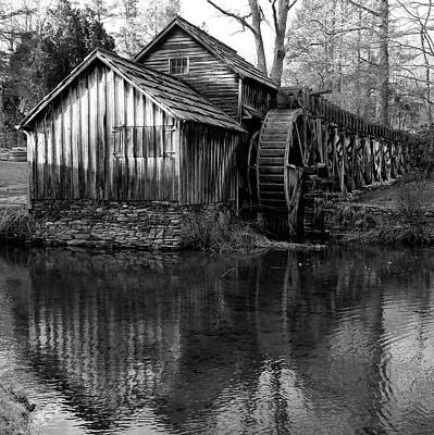 Mabry Mill In Black And White 1x1 - Virginia Art Print