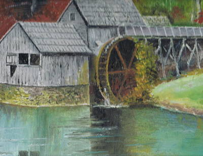 Mabry Mill In Virginia Usa Close Up View Of Painting Art Print by Anne-Elizabeth Whiteway