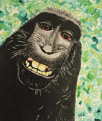 Painting - Macaque Monkey by Nancy Mergybrower
