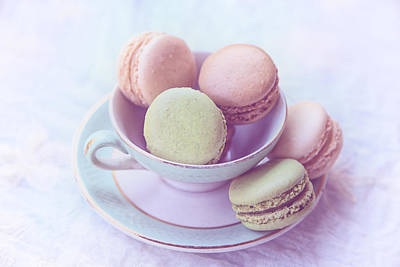 Macaroons Photograph - Macarons In A Vintage Cup by Georgia Fowler