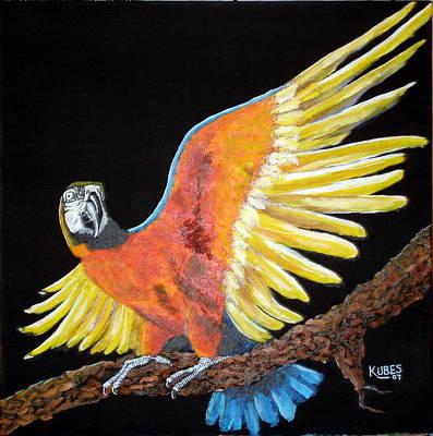 Macaw - Wingin' It Art Print by Susan Kubes