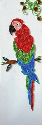 Macaw Mixed Media - Macaw Qulling by ICreative Kid