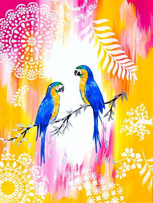 Cockatoo Painting - Macaws And Happiness by Cathy Jacobs