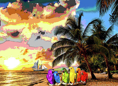 Beach Landscape Mixed Media - Macaws At Sunset by Charles Shoup